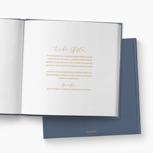 Gästebuch Hochzeit Glitzerstaub blaugrau Einleitung