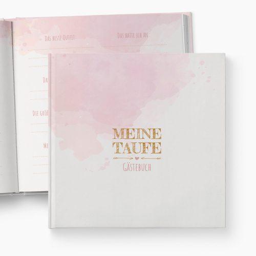 Gästebuch Taufe Aquarell rosa